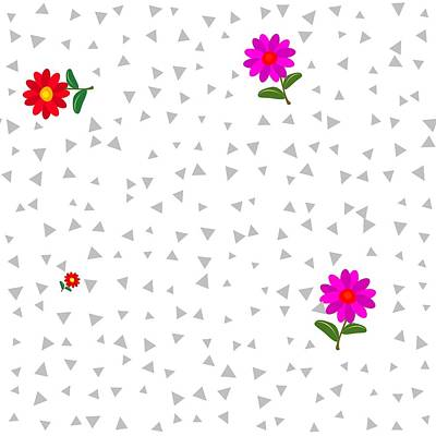 Pyjama Digital Art - Red Pink Flowers On White Background With Gray Trigons by Lenka Rottova