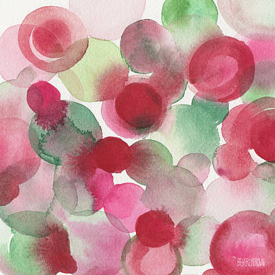 Red Pink Green Abstract Watercolor Art Print by Beverly Brown