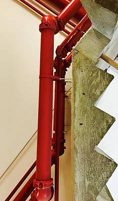 Photograph - Red Pipe And Stairs by Brian Sereda
