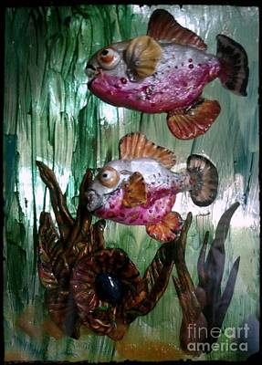 Red White And Blue Mixed Media - Red Piranha Pair by Kirk Wieland