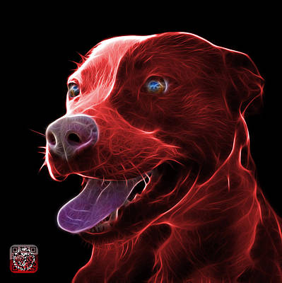 Mixed Media - Red Pit Bull Fractal Pop Art - 7773 - F - Bb by James Ahn