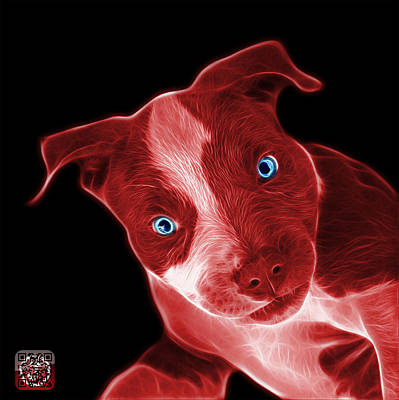 Painting - Red Pitbull 7435 - Bb by James Ahn