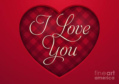 Digital Art - Red Plaid Love by JH Designs