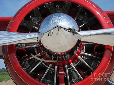 Lino Digital Art - Red Plane 2 by Susan Parsley