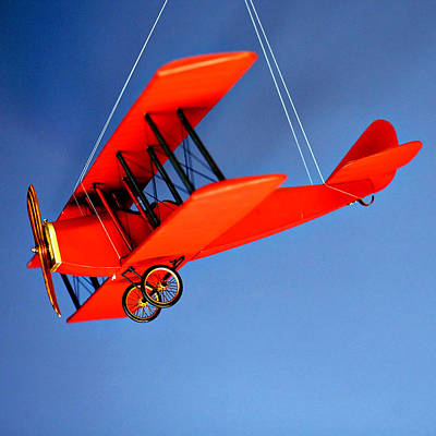 Hanging Mobile Photograph - Red Plane On Blue by Art Block Collections