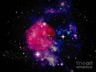 Photograph - Red Planet With Purple Nebula by Kelly Awad
