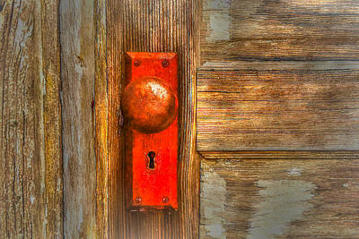 Photograph - Red Plated Rustic Door Knob by Tom Prendergast