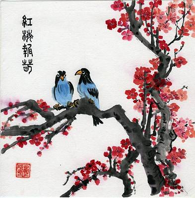 Painting - Red Plum And Blue Birds by Ping Yan