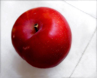 Photograph - Red Plum On A White Cloth by Louise Kumpf