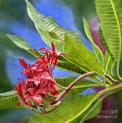 Plumeria Painting - Red Plumeria Blossoms With Colorful Background by Sharon Freeman