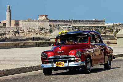 Photograph - Red Plymouth In Havana by Dawn Currie