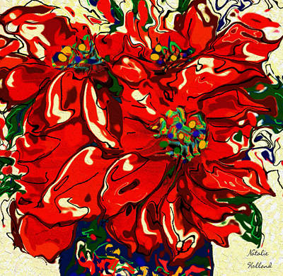 Mixed Media - Red Poinsettia by Natalie Holland