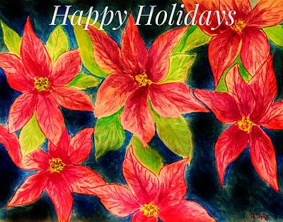 Painting - Red Poinsettias by Anne Sands