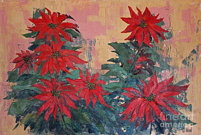 Red Poinsettias By George Wood Art Print by Karen Adams