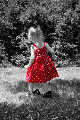 Red Polka Dot Dress And Mommy's Shoes Art Print by Tracie Kaska