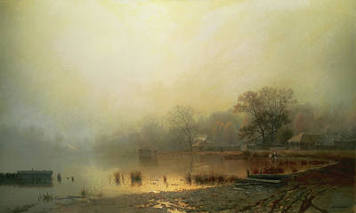 Moscow Painting - Red Pond In Moscow by Lev Kamenev