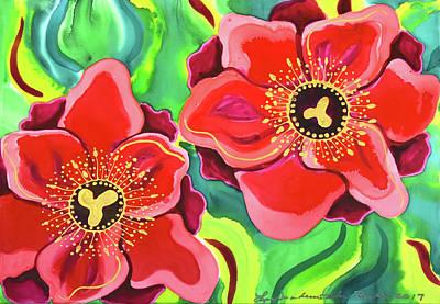 Painting - Red Poppies #2 by Lee Vanderwalker