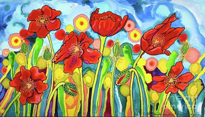 Painting - Red Poppies #3 Belize by Lee Vanderwalker