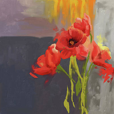 Corn Painting -  Red Poppies 400 I by Mawra Tahreem
