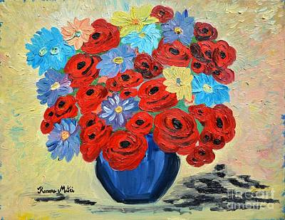 Red Poppies And All Kinds Of Daisies  Art Print