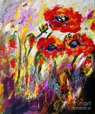 Painting - Red Poppies And Bees Provence Dreams by Ginette Callaway