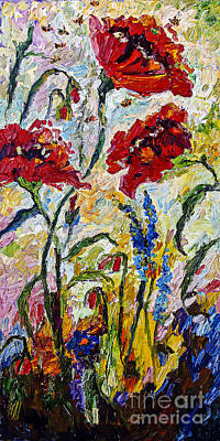 Painting - Red Poppies And Bees Provence by Ginette Callaway