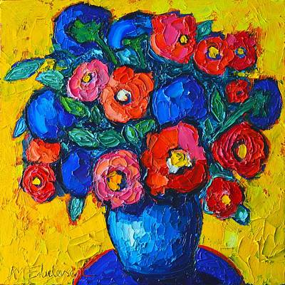 Bouquets Of Pink Flowers Green Blue Painting - Red Poppies And Blue Flowers - Abstract Floral by Ana Maria Edulescu