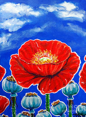 Painting - Red Poppies And Pods Cloudy Sky Flowers Wildflowers  by Jackie Carpenter