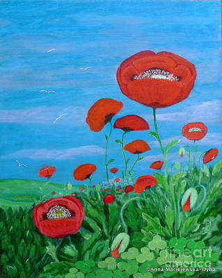 Folkartanna Painting - Red Poppies by Anna Folkartanna Maciejewska-Dyba