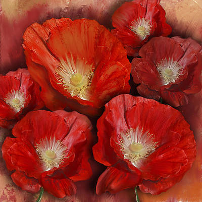 Poppie Digital Art - Red Poppies by Anthony Christou
