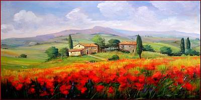 Italy Town Large Painting - Red Poppies by Bruno Chirici