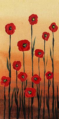 Painting - Red Poppies Decorative Art by Irina Sztukowski