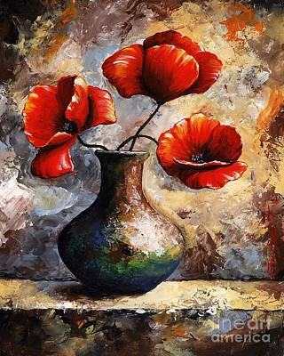 Still Life Royalty-Free and Rights-Managed Images - Red Poppies by Emerico Imre Toth