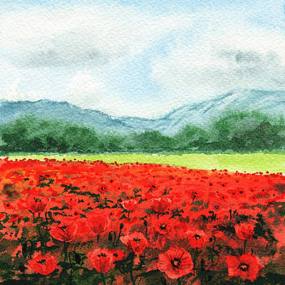 Red Poppies Field Art Print by Irina Sztukowski
