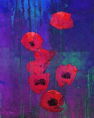 Mixed Media - Red Poppies by I'ina Van Lawick