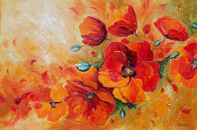 Red Poppies Impressionist Abstract Painting By Artist Ekaterina Chernova Art Print