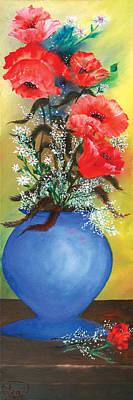 Red Poppies In A Blue Vase Art Print by Lea Topliff
