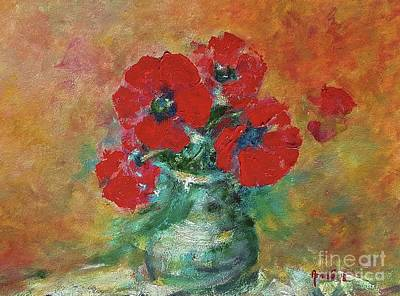 Painting - Red Poppies In A Vase by AmaS Art
