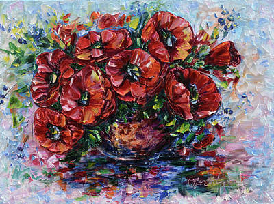 Painting - Red Poppies In A Vase by OLena Art Brand