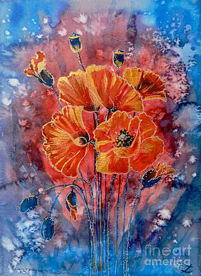 Painting - Red Poppies In Gold by Zaira Dzhaubaeva