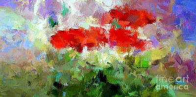 Digital Art - Red Poppies In The Horizon by Rafael Salazar