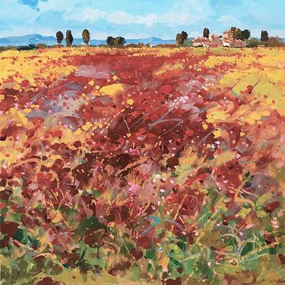 Tuscany Vineyard Oil Painting - Red Poppies Landscape In Tuscany by Agostino Veroni