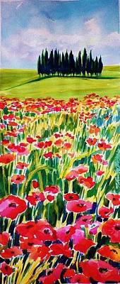 Painting - Red Poppies Of Tuscany  Prints For Sale by Therese Fowler-Bailey