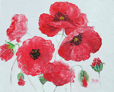 Painting - Red Poppies On A White Background by Jan Matson
