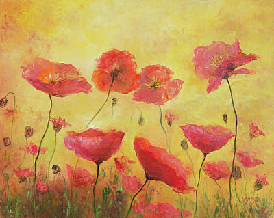 Red Painting - Red Poppies On Gold by Jan Matson