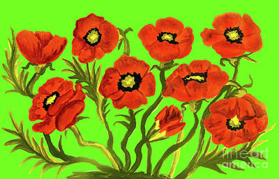 Painting - Red Poppies On Green by Irina Afonskaya
