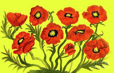 Painting - Red Poppies On Yellow by Irina Afonskaya