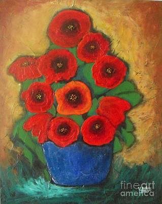 Red Poppies In Blue Vase Original