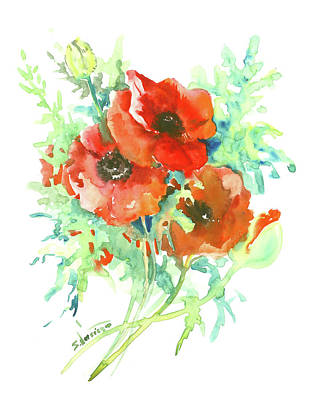 Painting - Red Poppies by Suren Nersisyan