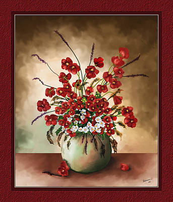 Art Print featuring the digital art Red Poppies by Susan Kinney